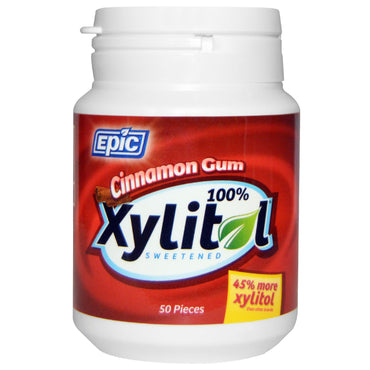 Epic Dental 100% Xylitol Sweetened Cinnamon Gum 50 Pieces