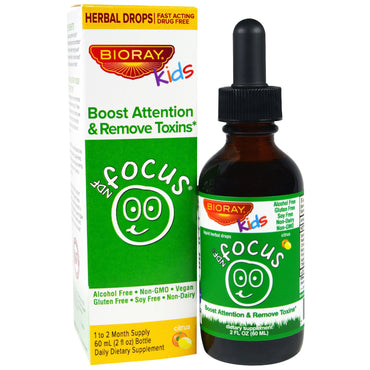 Bioray Inc., NDF Focus, Boost Attention & Remove Toxins, Kids, Citrus Flavor, 2 fl oz. (60 ml)