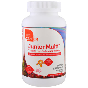 Zahler, Junior Multi, Complete One-Daily Multi-Vitamin, Natural Cherry Flavor, 180 Chewable Tablets