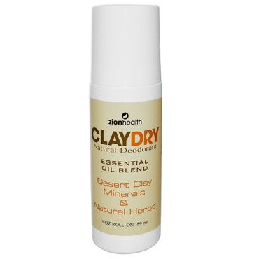 Zion Health, Clay Dry Natural Roll-On Deodorant, 3 oz (89 ml)