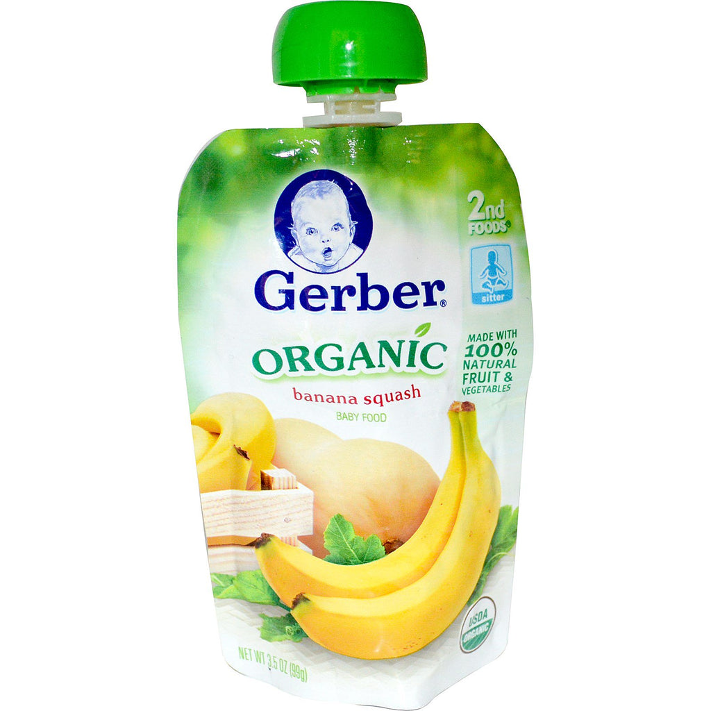 Gerber 2nd Foods Organic Baby Food Banana Squash 3.5 oz (99 g)