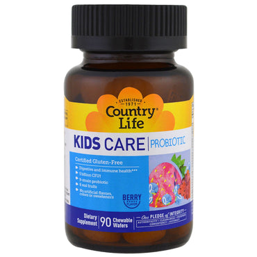 Country Life, Kids Care Probiotic, Berry Flavor, 90 Chewable Wafers