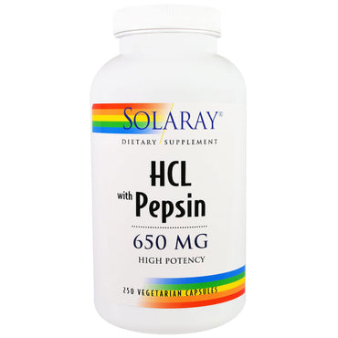 Solaray, HCL with Pepsin, 650 mg, 250 Vegetarian Capsules