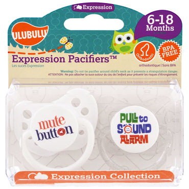 Ulubulu, Expression Pacifiers, Mute, Pull, 6-18 Months , 2 Pacifiers