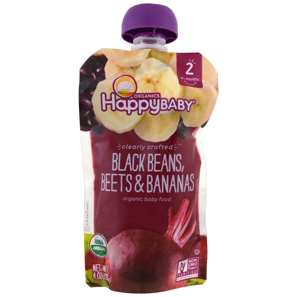 Nurture Inc. (Happy Baby) Organic Baby Food Stage 2 Clearly Crafted Black Beans Beets & Bananas 6+ Months 4 oz (113 g)