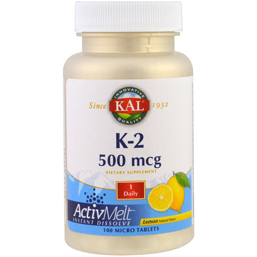 KAL, K-2, Lemon, 500 mcg, 100 Micro Tablets
