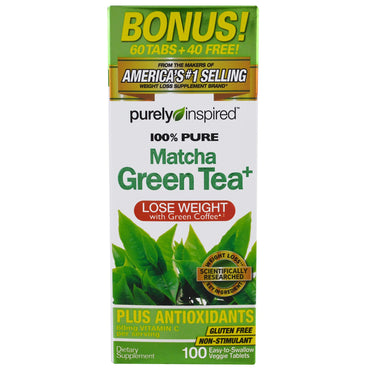 Purely Inspired, Pure Matcha Green Tea+, 100 Easy-to-Swallow Veggie Tablets
