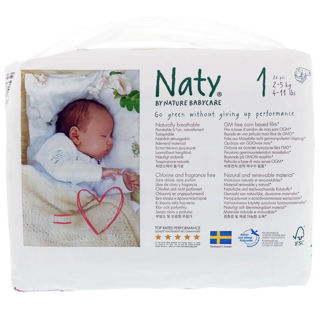 Naty, Diapers, Size 1, 4-11 lbs (2-5 kg), 26 Diapers