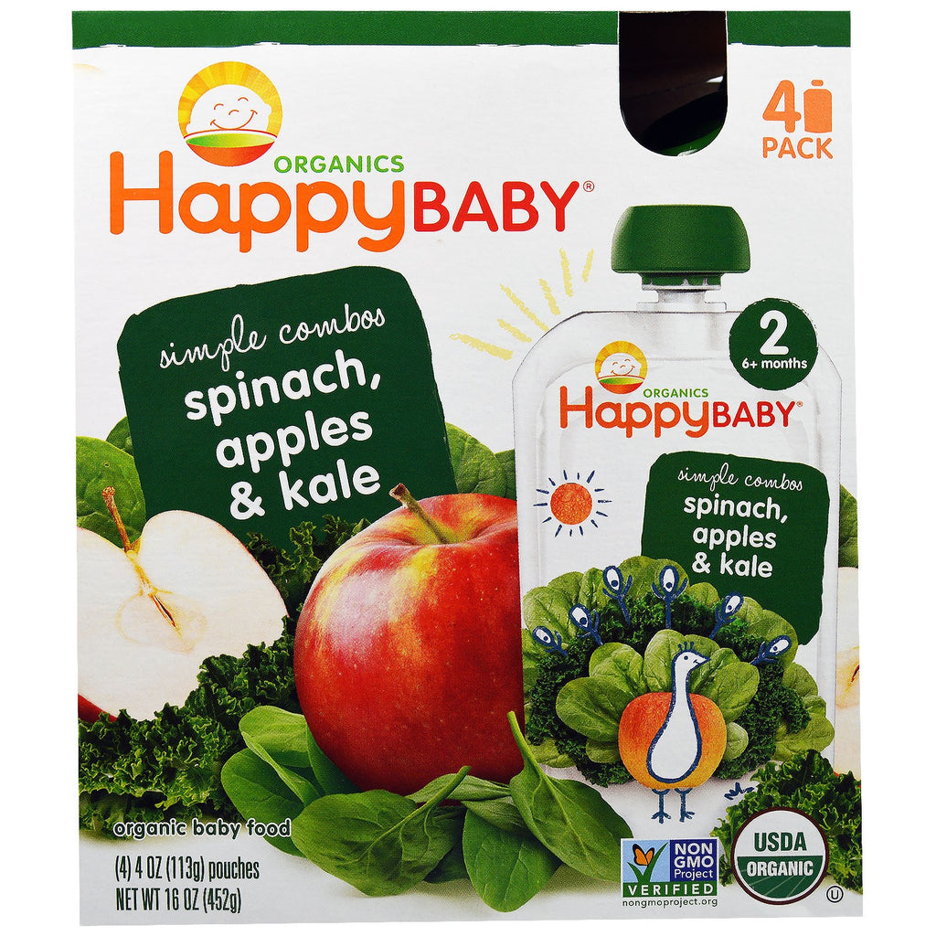 Nurture Inc. (Happy Baby) Organic Baby Food Stage 2 Simple Combos Spinach Apples & Kale 4 Pouches 4 oz (113 g) Each