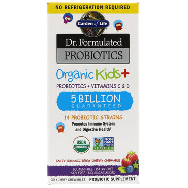 Garden of Life, Dr. Formulated Probiotics, Organic Kids +, Tasty Organic Berry Cherry, 30 Yummy Chewables
