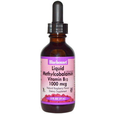 Bluebonnet Nutrition, Liquid Methylcobalamin Vitamin B12, Natural Raspberry Flavor, 1000 mcg, 2 fl oz (59 ml)
