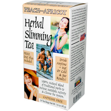 21st Century, Herbal Slimming Tea, Peach-Apricot, Caffeine Free, 24 Tea Bags, 1.6 oz (45 g)