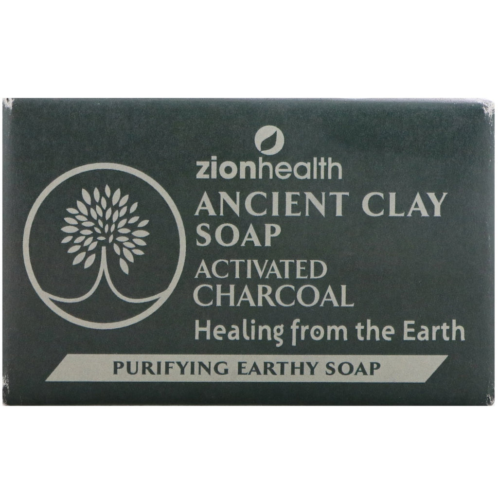 Zion Health, Ancient Clay Soap, Purifying Earthy Soap, Activated Charcoal, 6 oz (170 g)