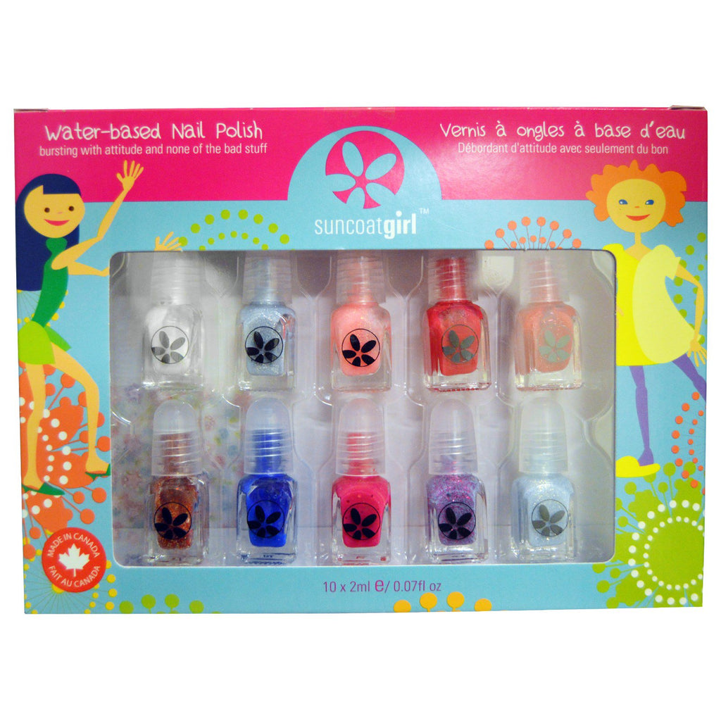 Suncoat Girl Water-Based Nail Polish Kit Flare & Fancy 10 Pieces