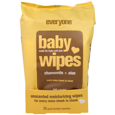 Everyone, Baby Wipes, Chamomile Plus Aloe, 30 Gentle Flushable Towelettes