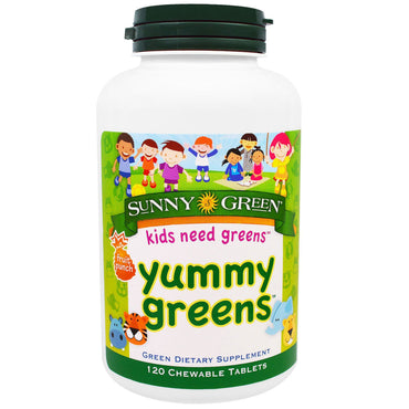 Sunny Green, Yummy Greens, Fruit Punch, 120 Chewable Tablets