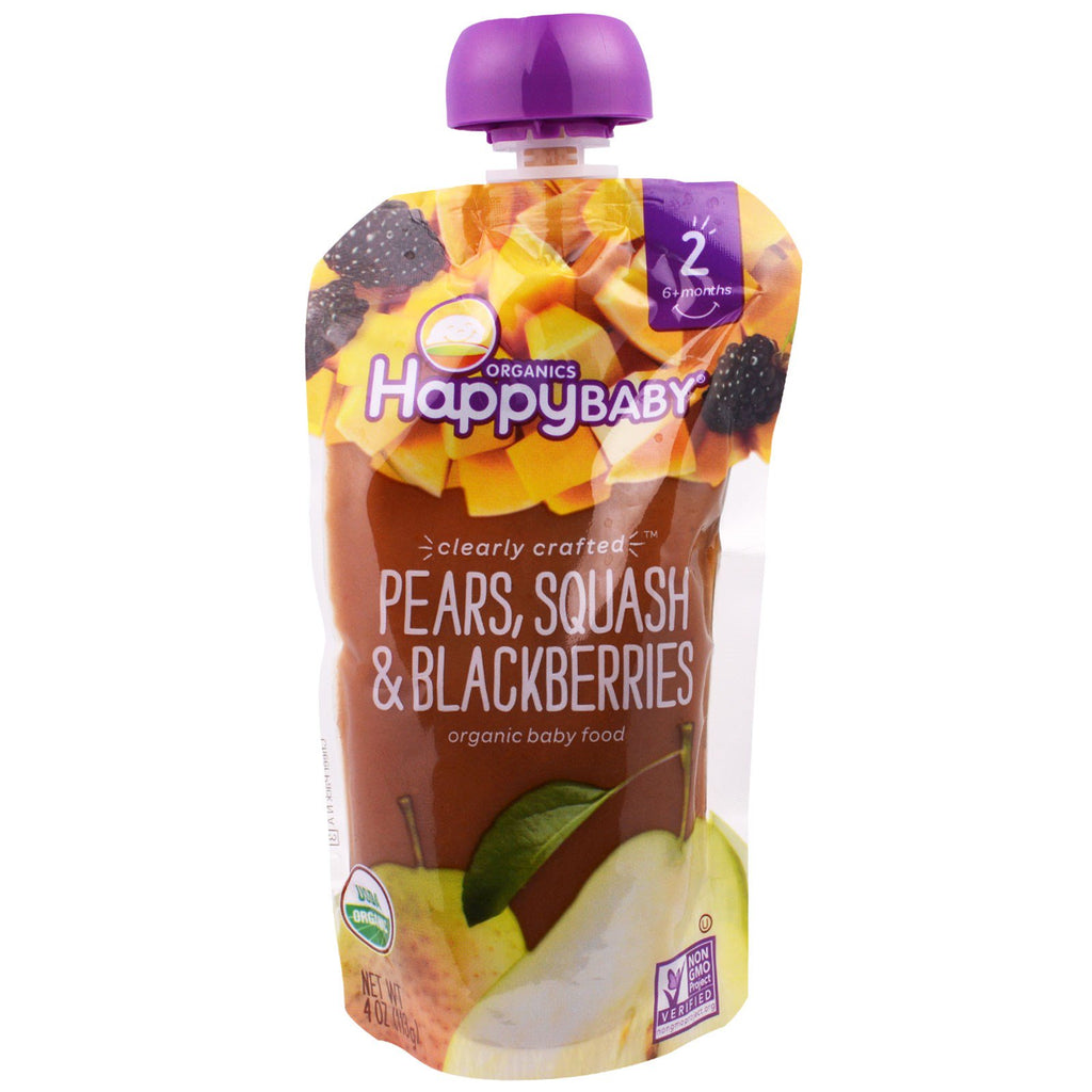 Nurture Inc. (Happy Baby) Organic Baby Food Stage 2 Clearly Crafted Pears Squash & Blackberries 6+ Months 4.0 oz (113 g)