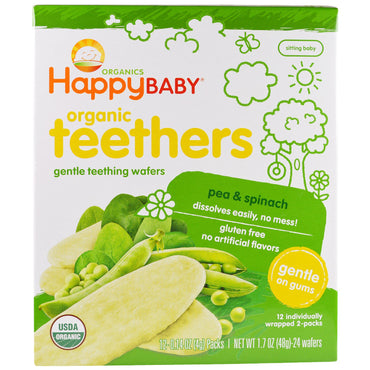 Nurture Inc. (Happy Baby), Gentle Teething Wafers, Organic Teethers, Pea & Spinach, 12 Packs, 0.14 oz (4 g) Each