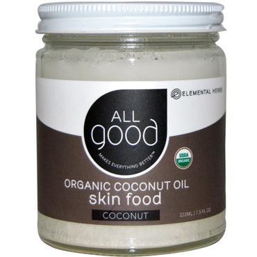 All Good Products, Organic Coconut Oil, Skin Food, Coconut, 7.5 fl oz (222 ml)