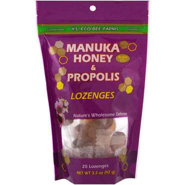 Y.S. Eco Bee Farms, Manuka Honey & Propolis Lozenges, 20 Lozenges, 3.2 oz (92 g)