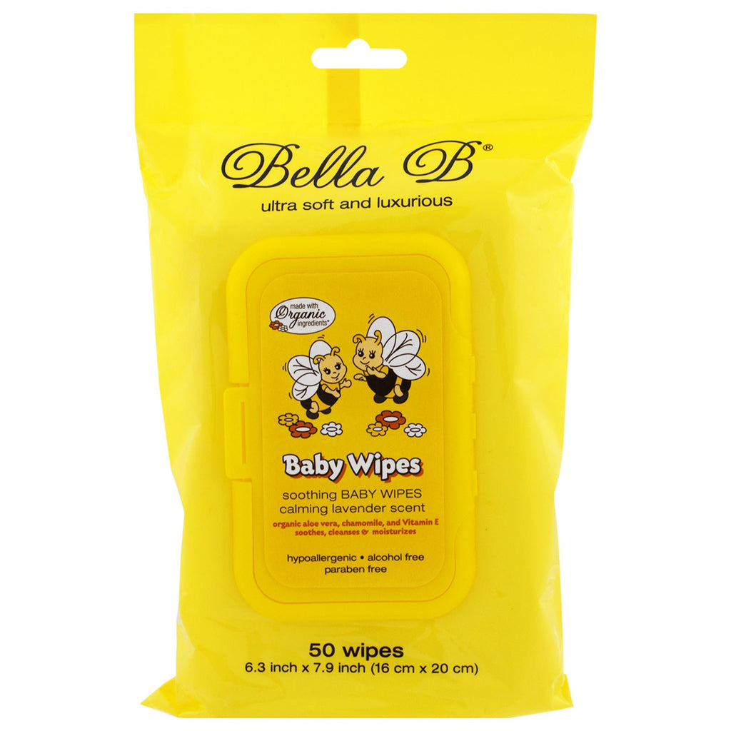 Bella B, Baby Wipes, Calming Lavender Scent, 50 Wipes - 6.3 inch X 7.9 inch