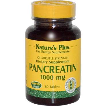 Nature's Plus, Pancreatin, 1000 mg, 60 Tablets