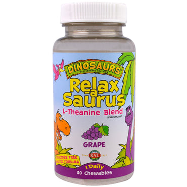 KAL, Dinosaurs, Relax-a-Saurus, L-Theanine Blend, Grape, 30 Chewables
