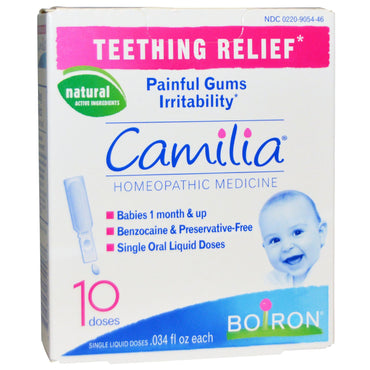 Boiron, Camilia, Teething Relief, 10 Doses, .034 fl oz Each