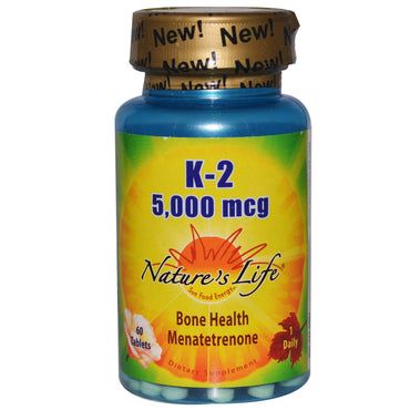 Nature's Life, K-2, Bone Health Menatetrenone, 5,000 mcg, 60 Tablets