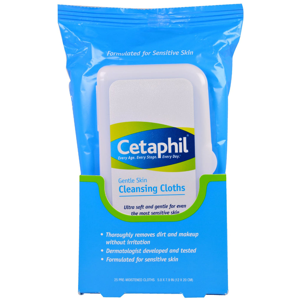 Cetaphil, Gentle Skin Cleansing Cloths, 25 Pre-Moistened Cloths, 5.0 x 7.9 (12 x 20 cm)