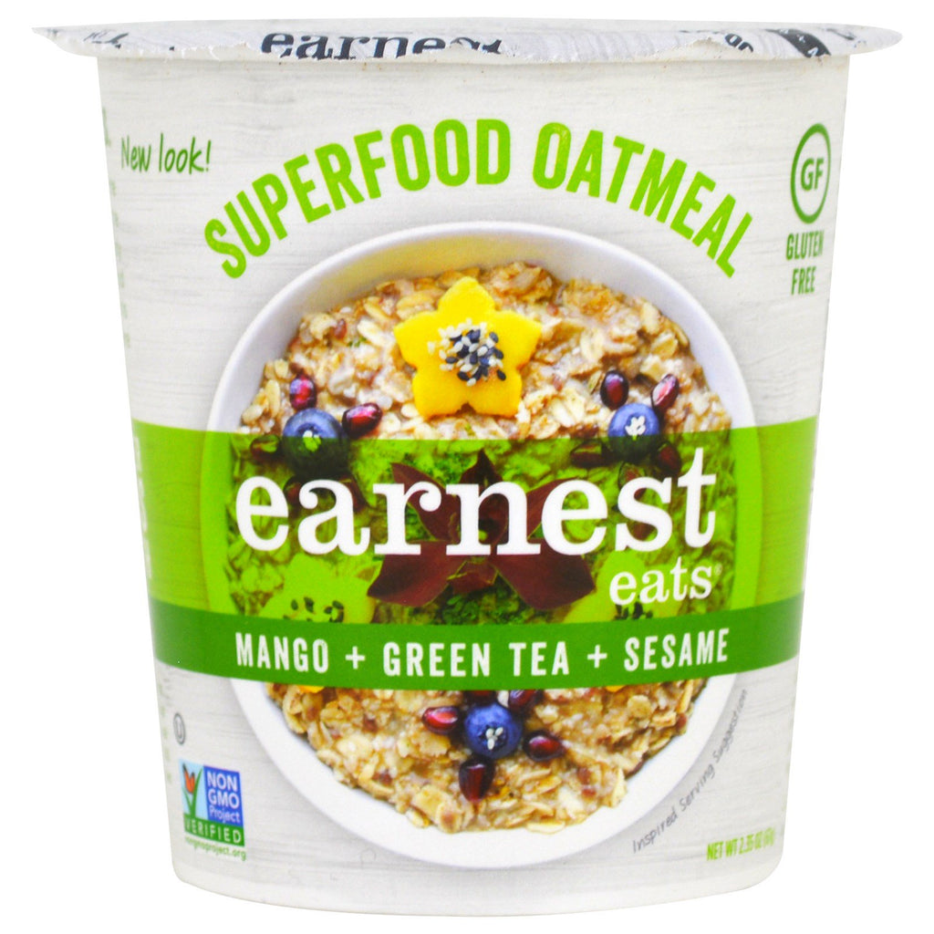 Earnest Eats SuperFood Oatmeal Cup Mango + Green Tea + Sesame Asia Blend 2.35 oz (67 g)