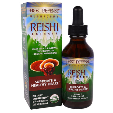 Fungi Perfecti, Host Defense Mushrooms, Organic Reishi Extract, Supports A Healthy Heart, 2 fl oz (60 ml)