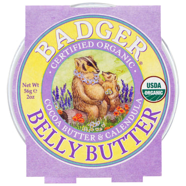 Badger Company Organic Belly Butter Cocoa Butter & Calendula 2 oz (56 g)