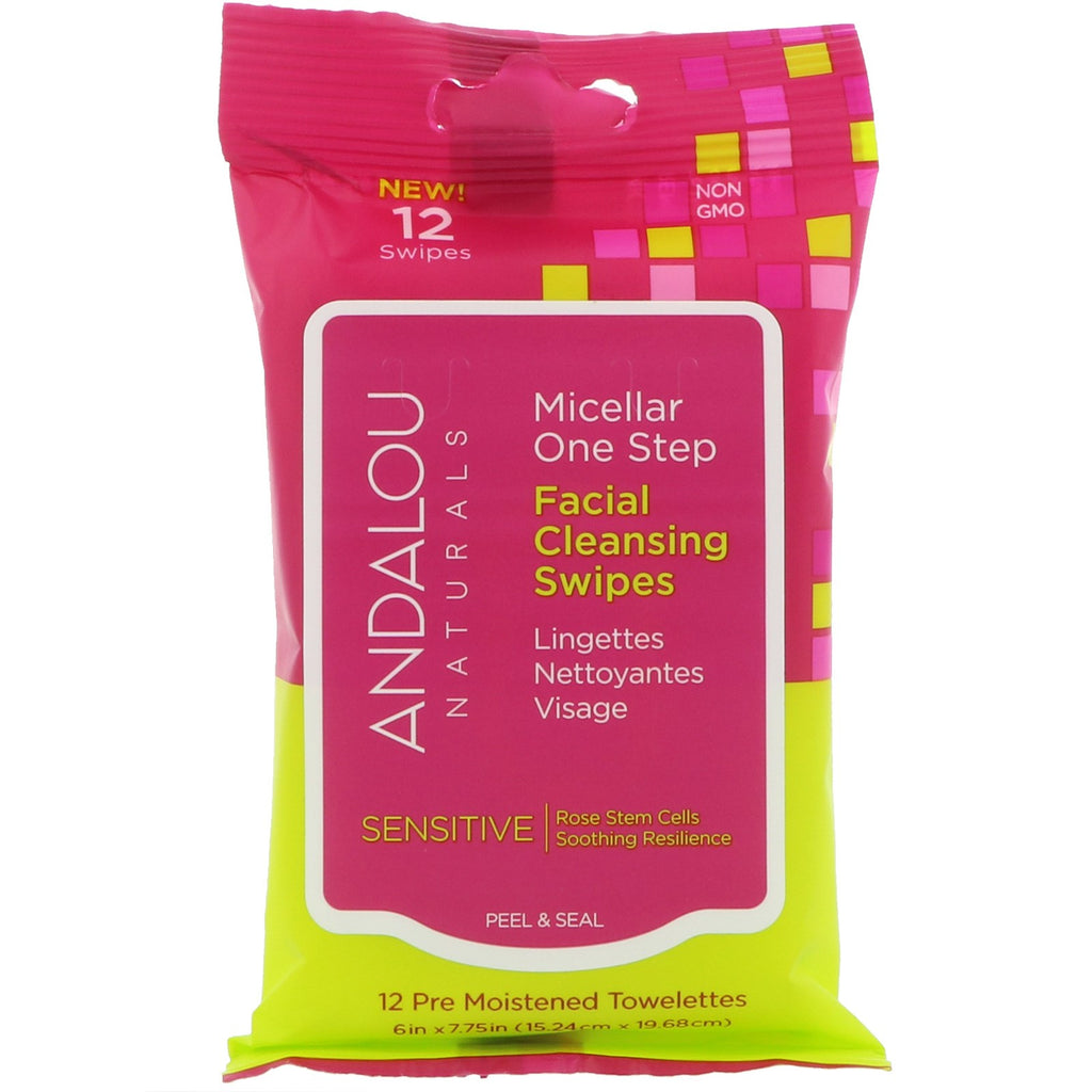 Andalou Naturals, Sensitive, Micellar One Step Facial Cleansing Swipes, 12 Pre Moistened Towelettes