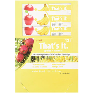 That's It Fruit Bars Apples + Bananas 12 Bars 1.2 oz (420 g) Each