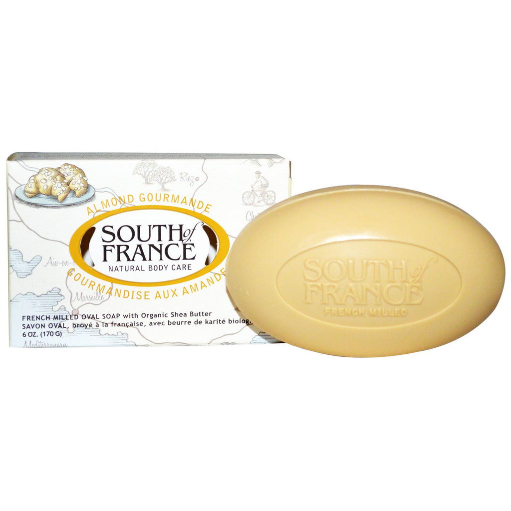 South of France, Almond Gourmande, French Milled Oval Soap with Organic Shea Butter, 6 oz (170 g)