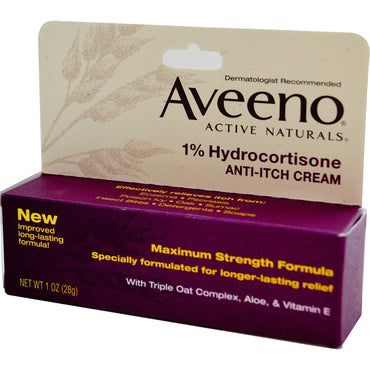 Aveeno, Active Naturals, 1% Hydrocortisone, Anti-Itch Cream, 1 oz (28 g)