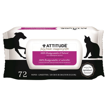 ATTITUDE, Furry Friends, 100% Biodegradable & Natural Pet Grooming Wipes, Fragrance-Free, 72 Wipes