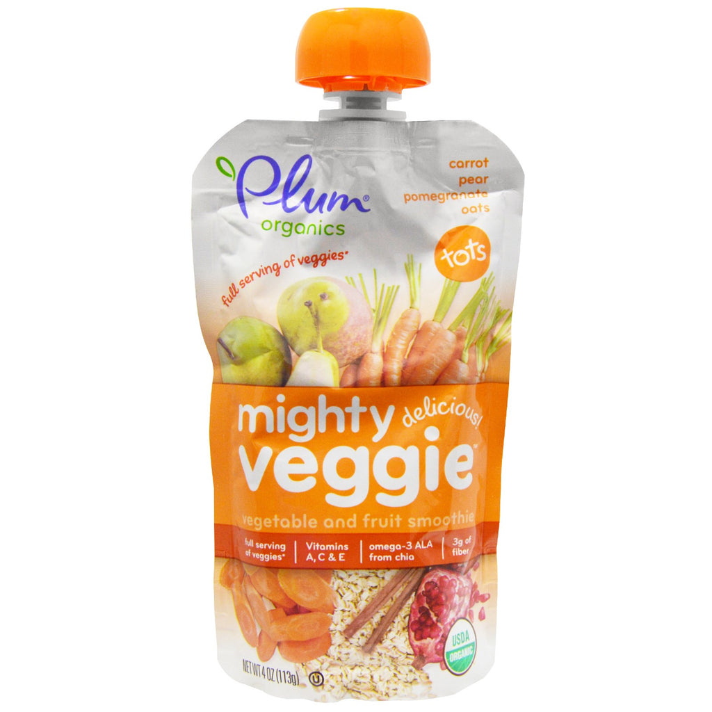 Plum Organics Tots Mighty Veggie Carrot Pear Pomegranate Oats 4 oz (113g)
