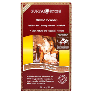 Surya Henna, Henna Powder, Natural Hair Coloring and Hair Treatment, Ash Brown, 1.76 oz (50 g)