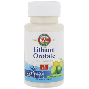 KAL, Lithium Orotate, Lemon Lime Natural Flavor, 90 Micro Tablets