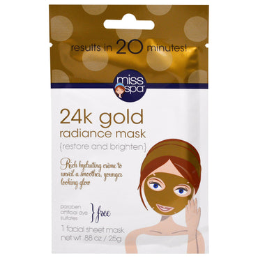 Miss Spa, 24k Gold Radiance Mask, 1 Facial Mask