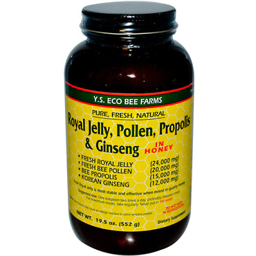 Y.S. Eco Bee Farms, Royal Jelly, Pollen, Propolis & Ginseng in Honey, 19.5 oz (552 g)