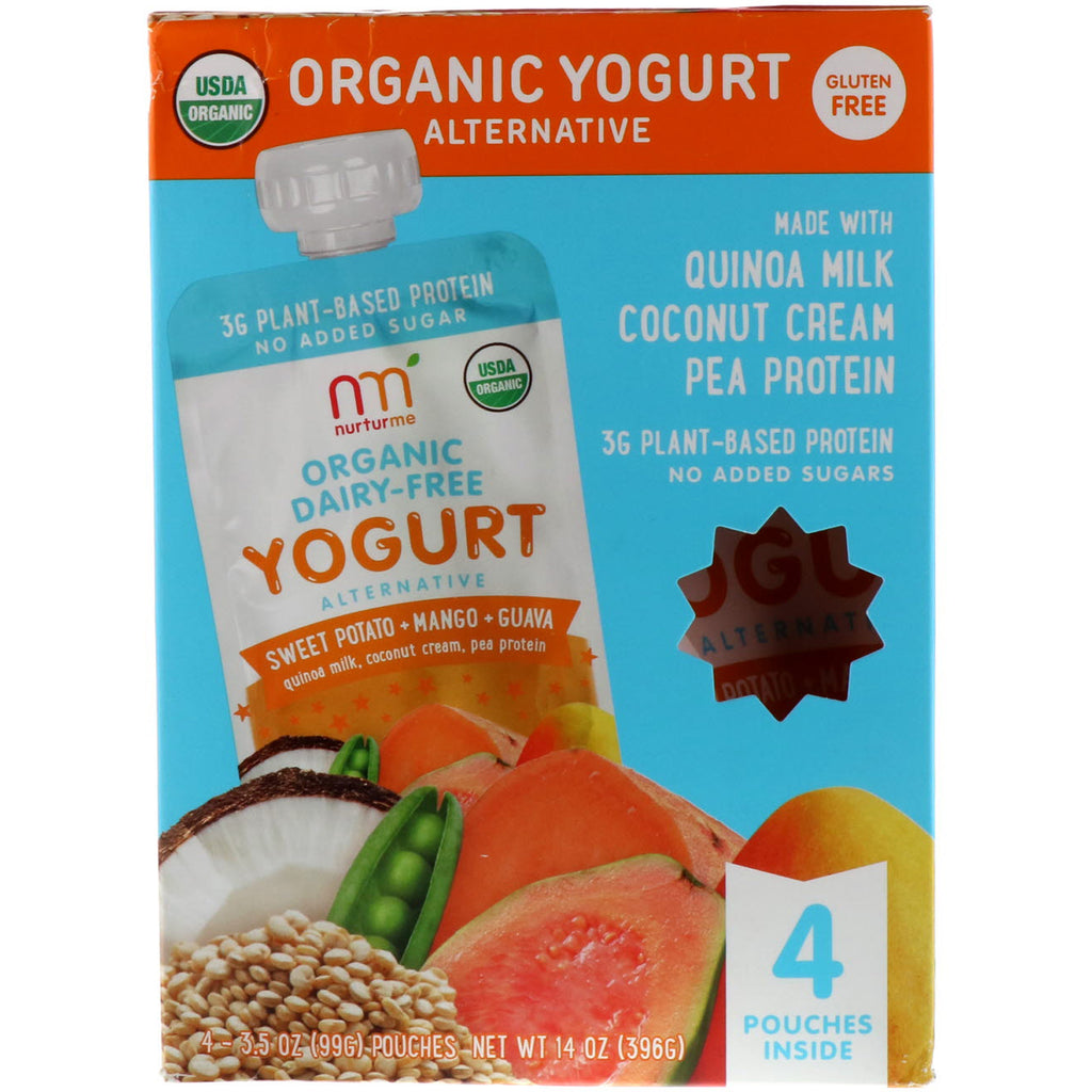 NurturMe Organic Yogurt Alternative Sweet Potato Mango Guava 4 Pouches 3.5 oz (99 g) Each