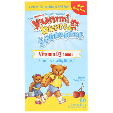 Hero Nutritional Products, Yummi Bears, Vitamin D3, Sugar Free, Natural Cherry Flavor, 1000 IU, 60 Gummy Bears