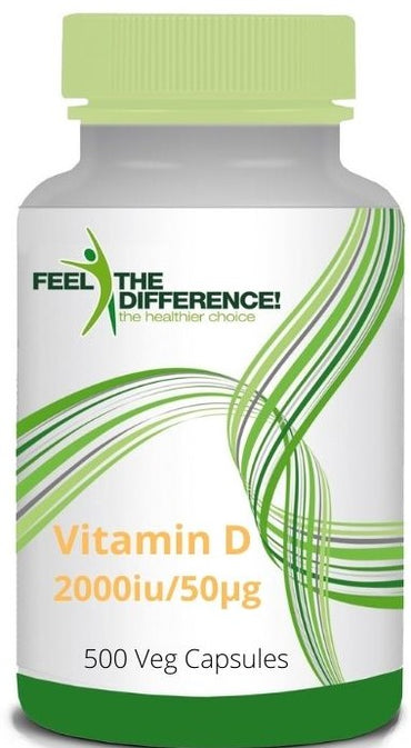 FEEL THE DIFFERENCE Vitamin D3 2000iu/50μg, 500 Veg Capsules