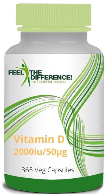 FEEL THE DIFFERENCE Vitamin D3 2000iu/50μg, 365 Veg Capsules