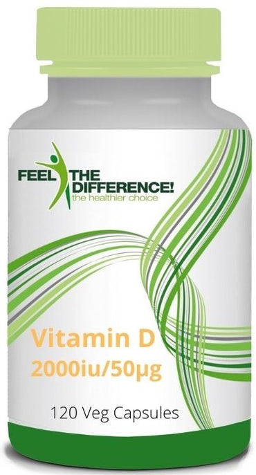 FEEL THE DIFFERENCE Vitamin D3 2000iu/50μg, 120 Veg Capsules