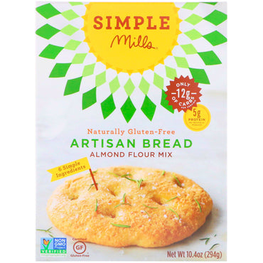 Simple Mills, Naturally Gluten-Free, Almond Flour Mix, Artisan Bread, 10.4 oz (294 g)
