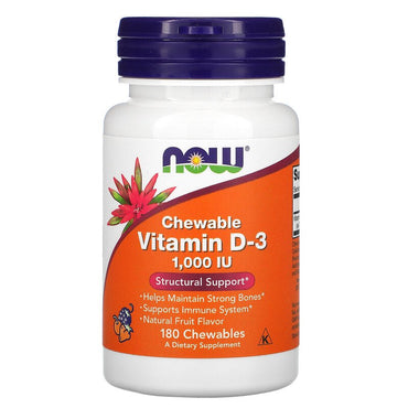 Now Foods, Chewable Vitamin D-3, Natural Fruit Flavor, 1,000 IU, 180 Chewables